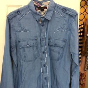 Denim long sleeved button up